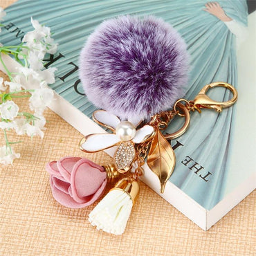 Flower Purple Pompom Heart Key Chain - Pretty Fab Things