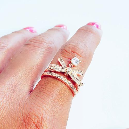 Bow-Knot Crystal Gold Ring - Pretty Fab Things