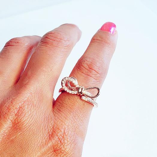 Bow-Tie Crystal Rose Gold Ring - Pretty Fab Things