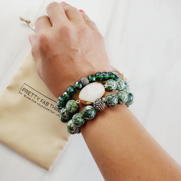 Jade Druzy Stone 3 Piece Bracelet Set | Pretty Fab Things
