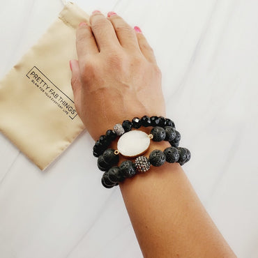 Black Beauty Druzy 3 Piece Pave Bracelet Set | Pretty Fab Things