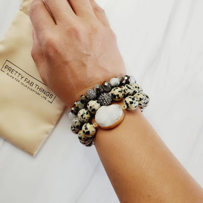 Dalmatian Diva Druzy 3 Piece Pave Bracelet Set | Pretty Fab Things