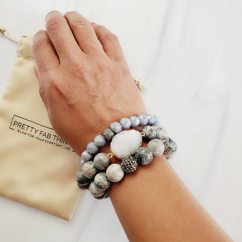 Gorgeous Gray Druzy 3 Piece Bracelet Set | Pretty Fab Things