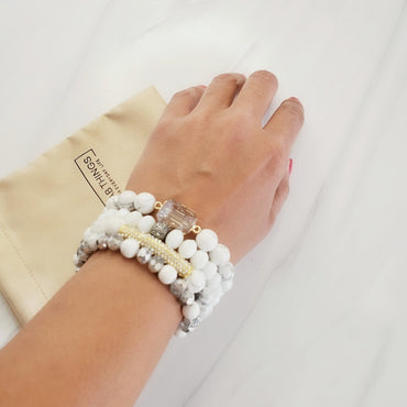 Wedding White Crystal Pave Bar Amazonite Bracelet Set