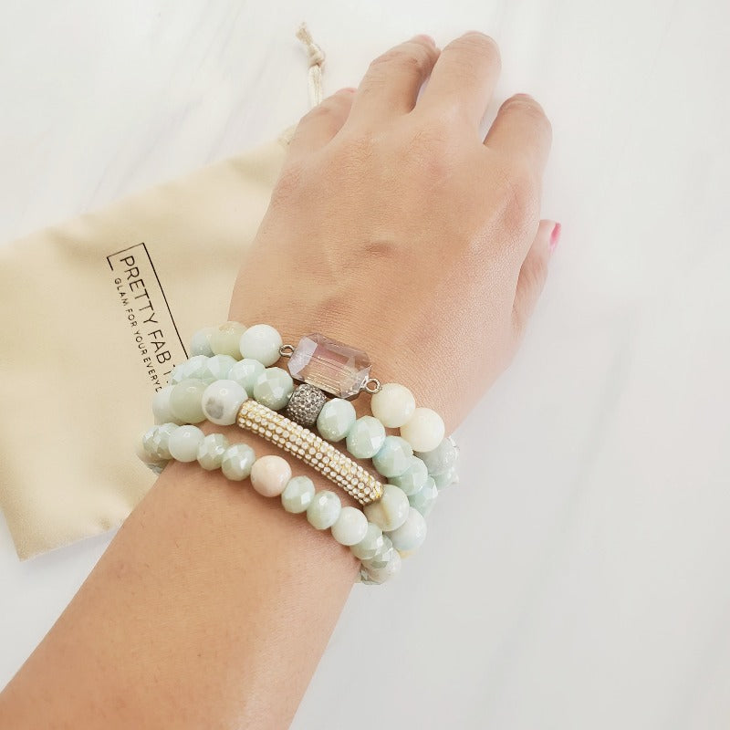 Minty Green Crystal Pave Bar Amazonite Bracelet Set
