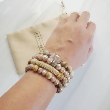 Natural Beauty Crystal Pave Bar Amazonite Bracelet Set