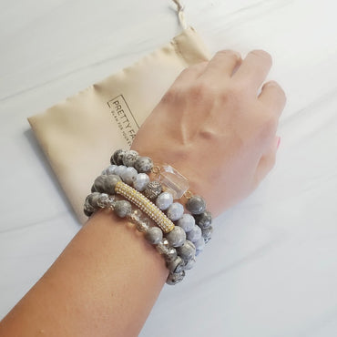 Girly & Gray Pave Crystal & Amazonite Bead Bar Bracelet Set