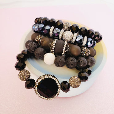 Black & Blue Crystal Pave 5 PC Bracelet Set