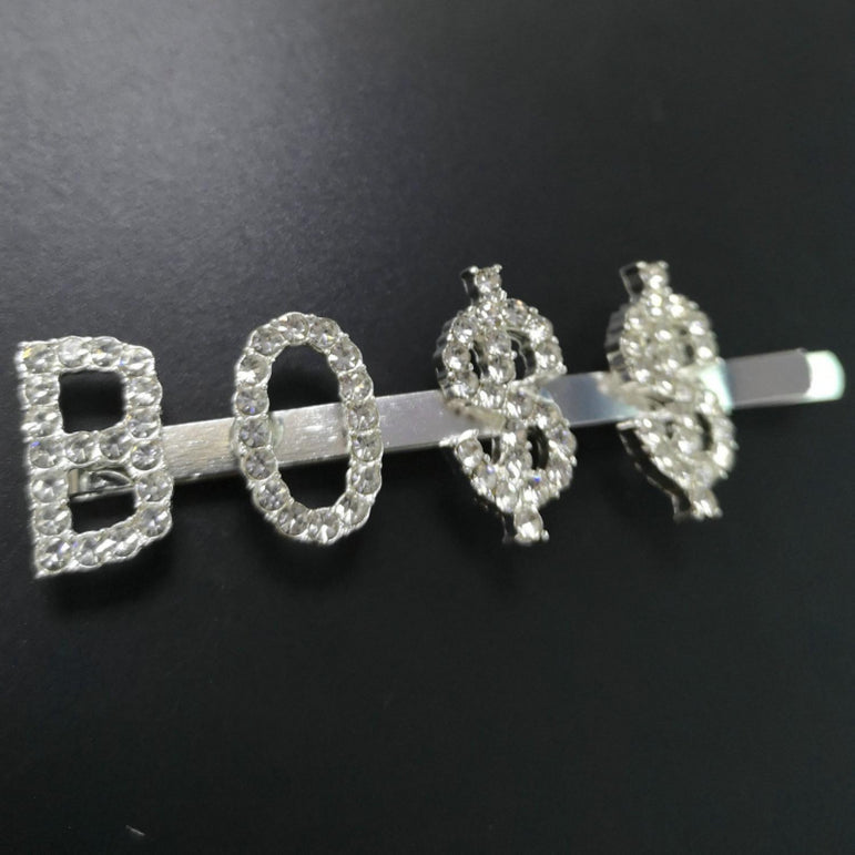 I'm Extra Silver Rhinestone Word Boss Hair Clips |  Pretty Fab Things