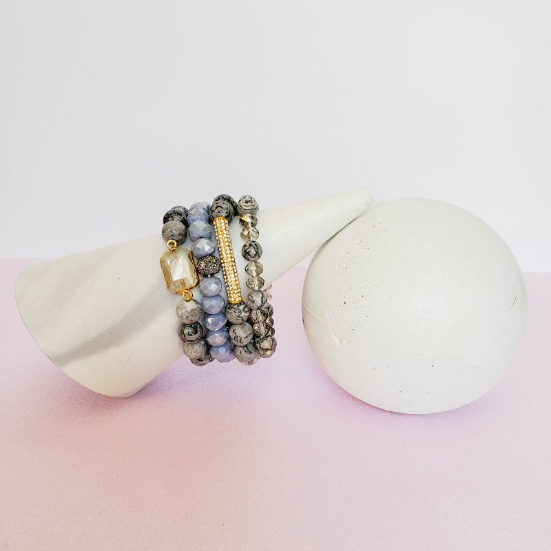 Girly & Gray Gold Pave Bar Bracelet Set | Pretty Fab Things