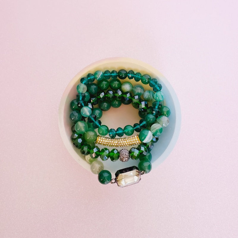 Gorgeous Green Gold Pave Bar Bracelet Set | Pretty Fab Things