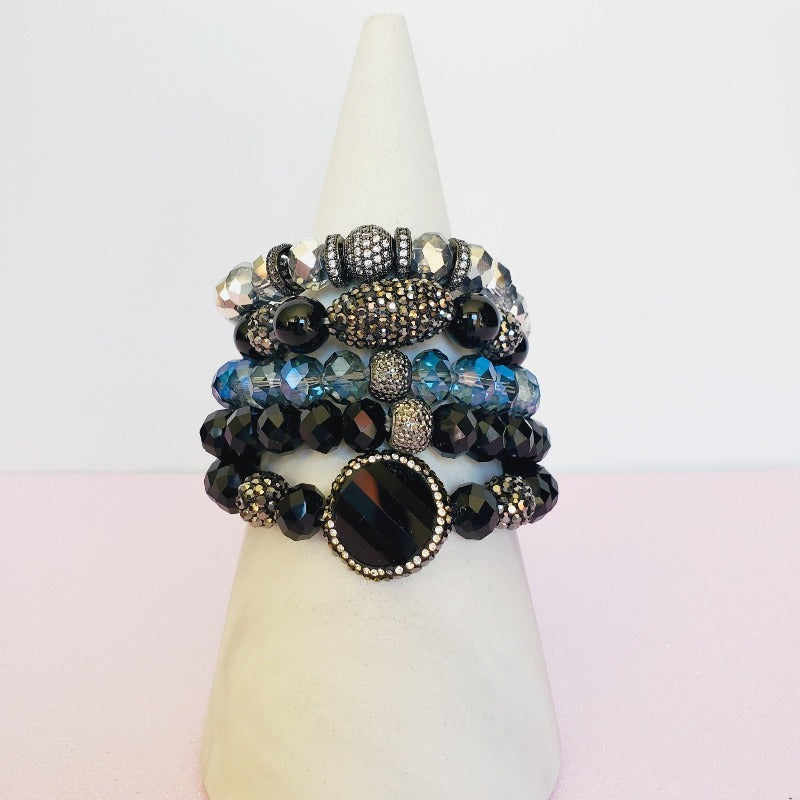 Black Pave Crystal five piece bracelet set