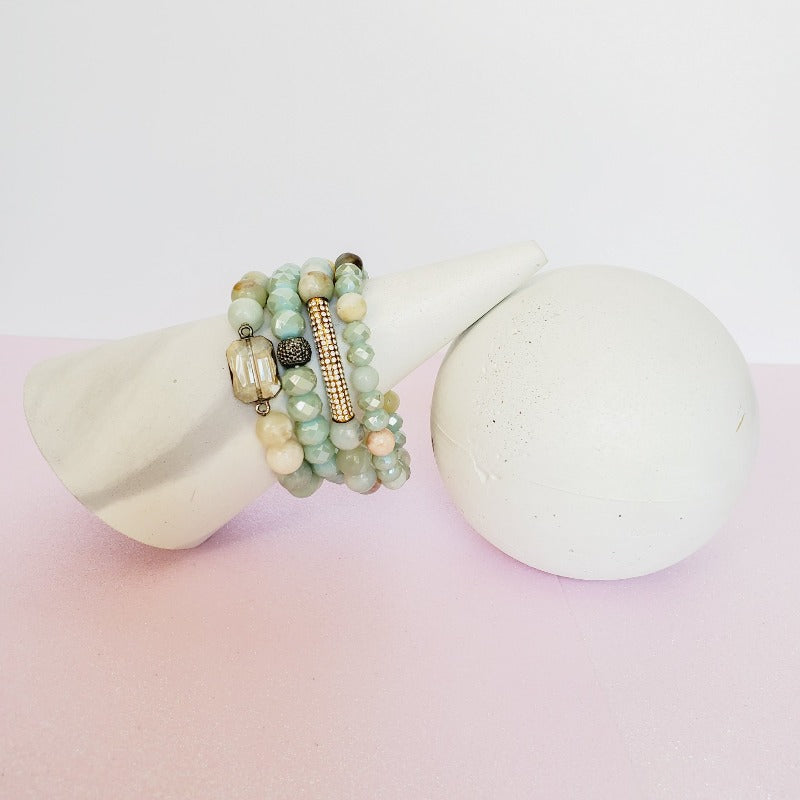 Minty Green Gold Pave Bar Bracelet Set | Pretty Fab Things