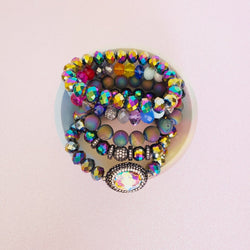 Rainbow Dreams Crystal Pave 5 Piece Bracelet Set