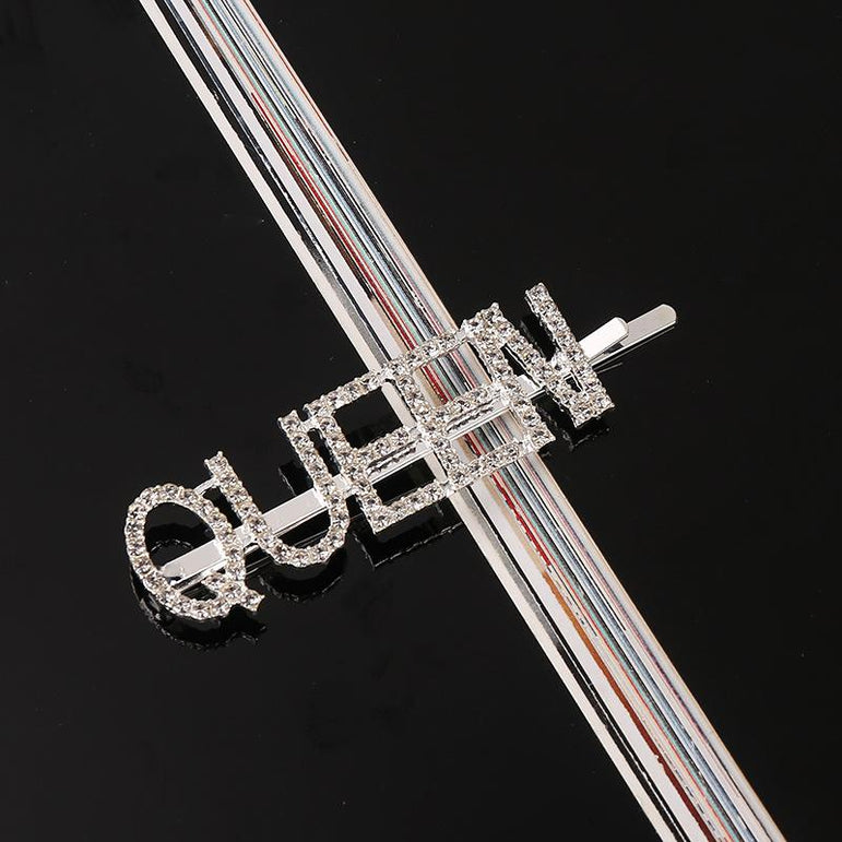 I'm Extra Silver Rhinestone Word Queen Hair Clips |  Pretty Fab Things