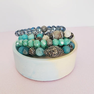Totally Turquoise Crystal 5 Piece Bracelet Set