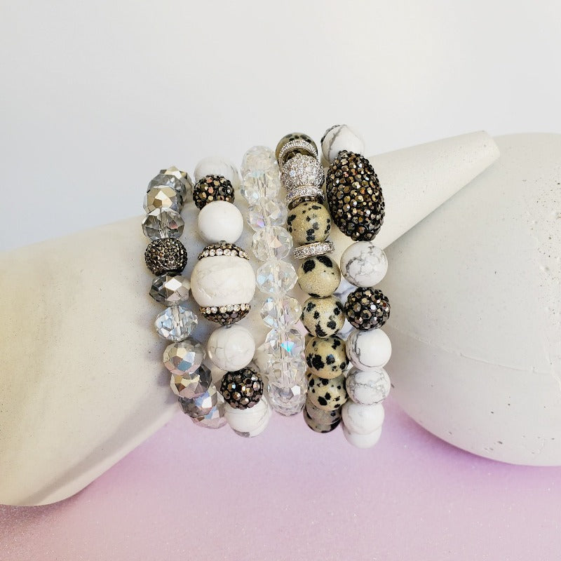 White & Silver Crystal Pave 5 Piece Bracelet Set