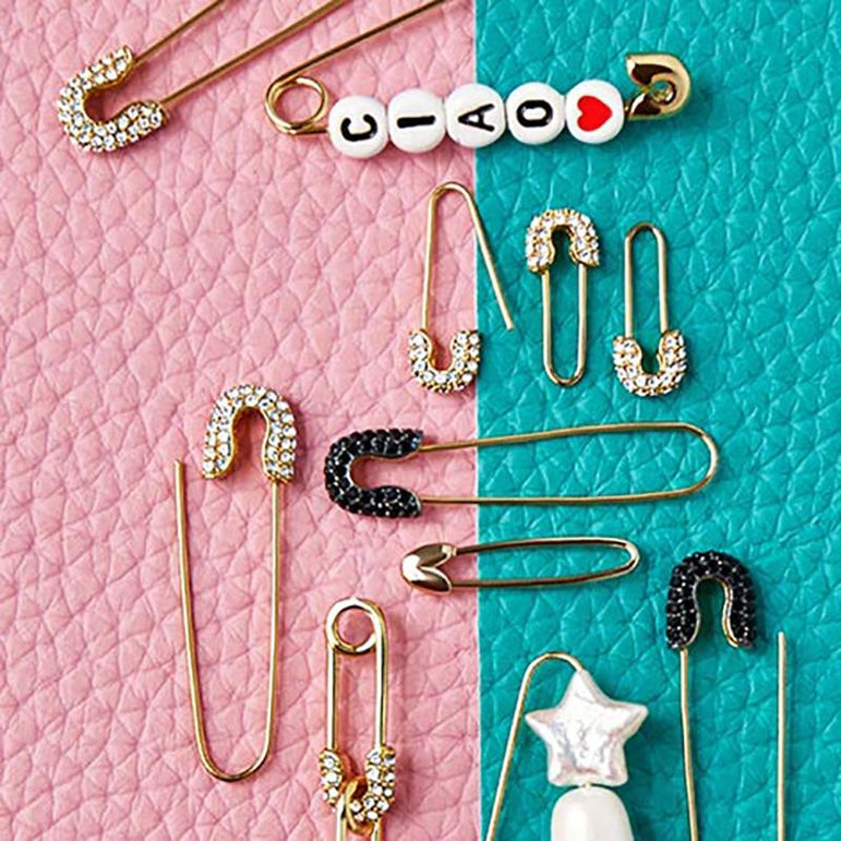 Gold Crystal Safety Pin Earring - Pretty Fab Things