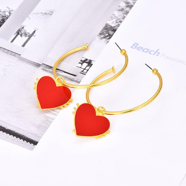 Red Heart Hoop Gold Earrings - Pretty Fab Things