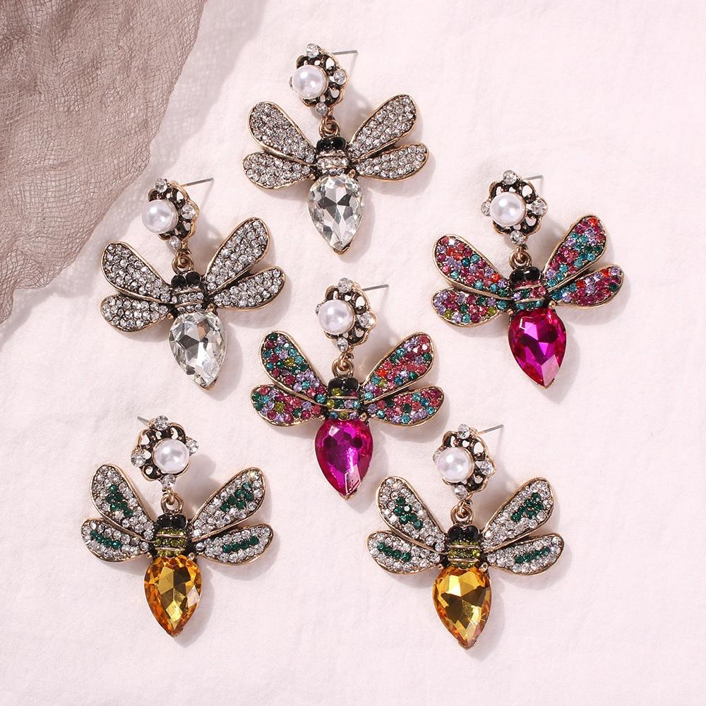 Pave Crystal Queen Bee Pearl Earrings - Pretty Fab Things