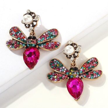 Pink Pave Crystal Queen Bee Pearl Earrings - Pretty Fab Things