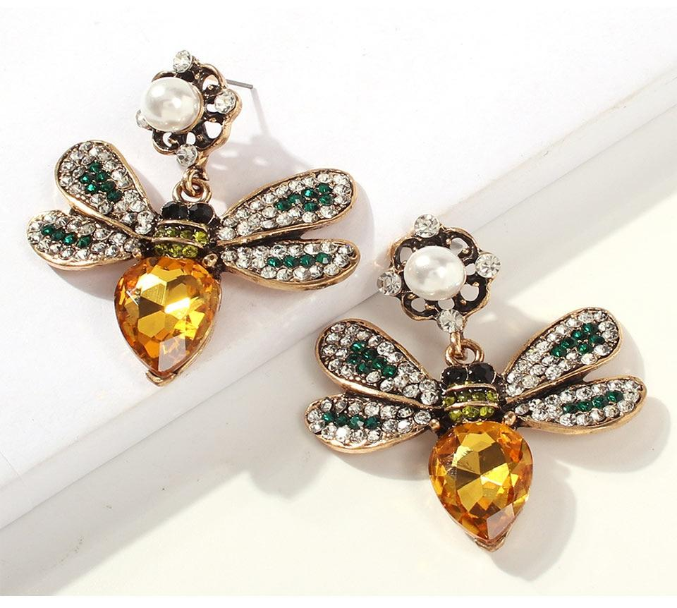 Yellow Pave Crystal Queen Bee Pearl Earrings - Pretty Fab Things