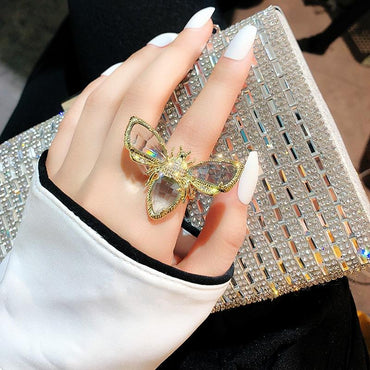 Bling Gold Pave Crystal Bee Large Rings - Pretty Fab Things