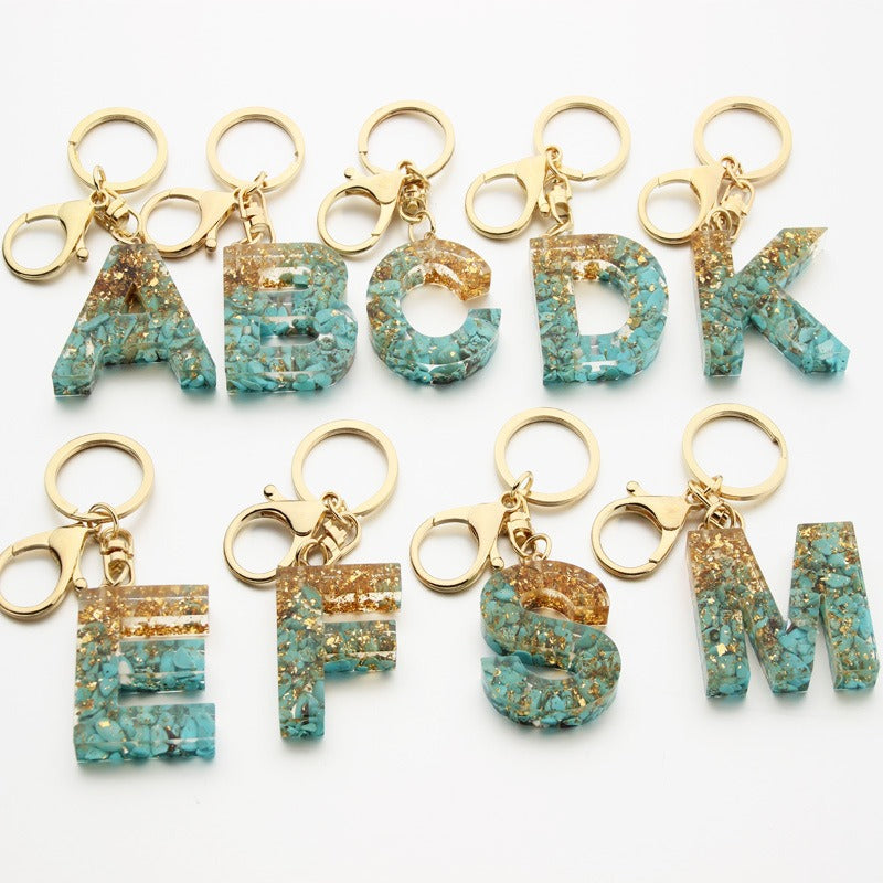 Glitter Resin Alphabet Key Chain | Pretty Fab Things
