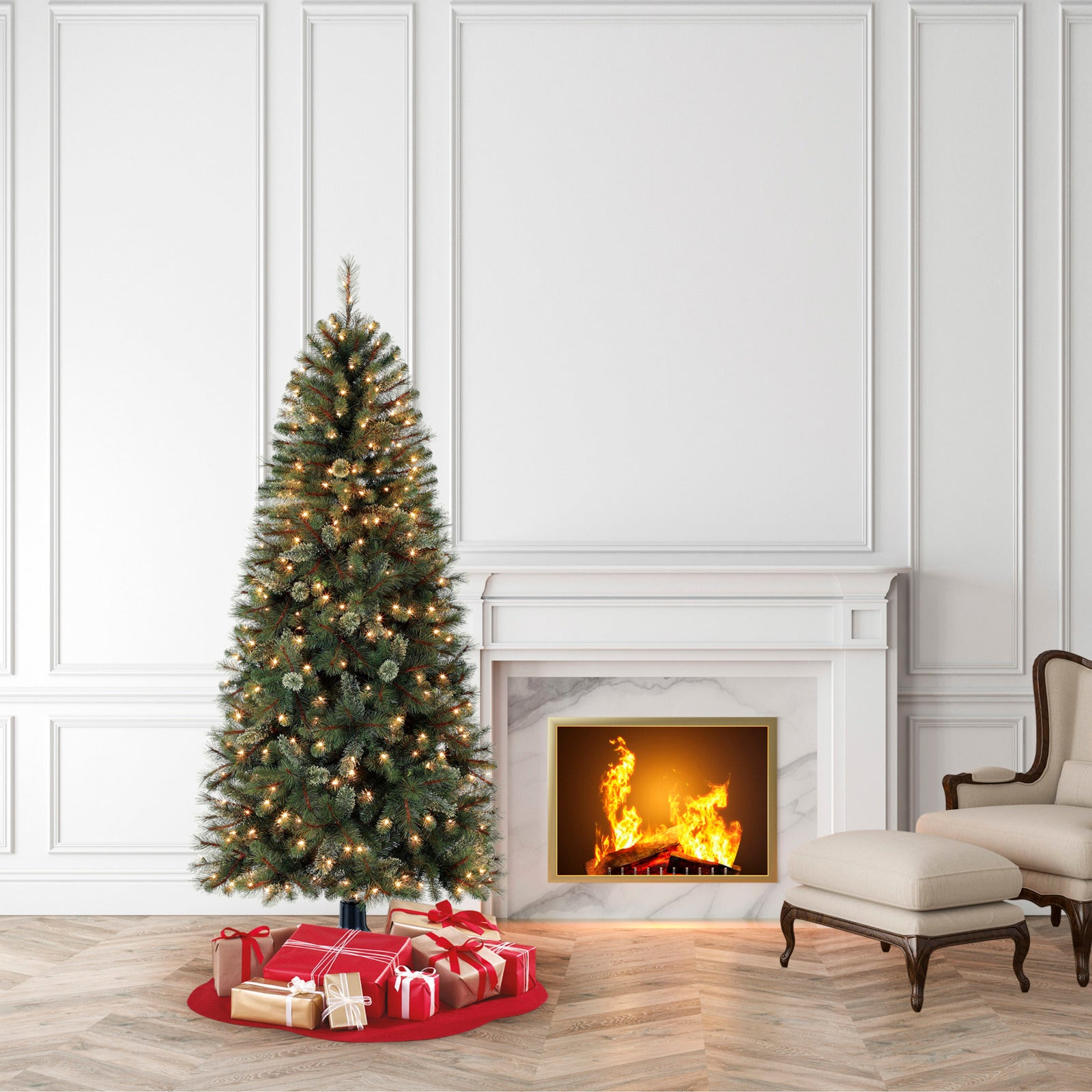 Holiday Time Pre-Lit 7\' Brookfield Fir Artificial Christmas ...