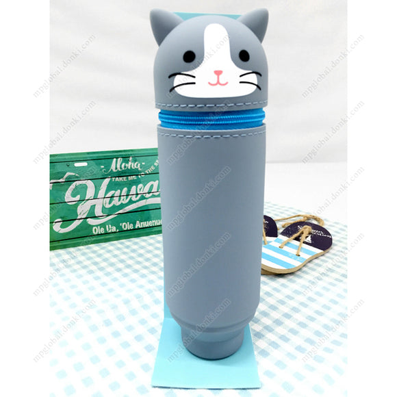 Punilabo Standing Pencil Case, Two-Color Cat