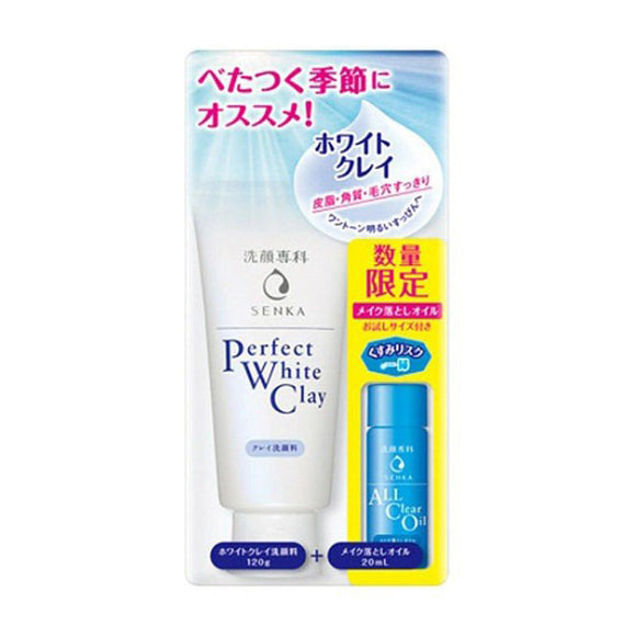 Senka Perfect White Clay [Clay Face Wash]120G+All Clear Oil 20Ml