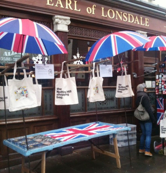 Notting Hill Shopping Bags unmissable on Sal's stall
