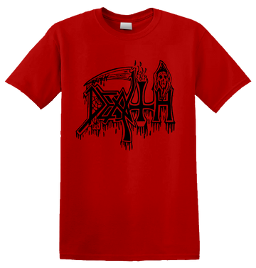 DEATH - 'Classic Logo' Black on Red T-Shirt