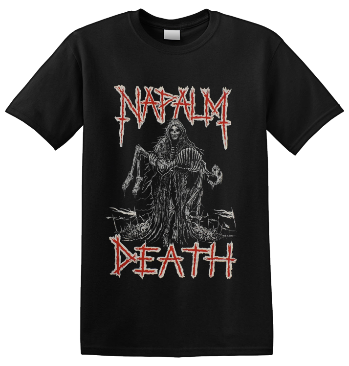 NAPALM DEATH - 'Reaper' T-Shirt Red & White Ink