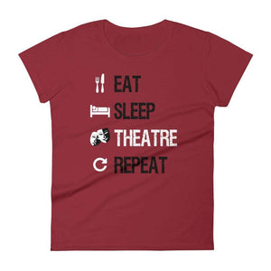 Eat Sleep Theatre Repeat Women's T-Shirt - Happy Drama Shirts