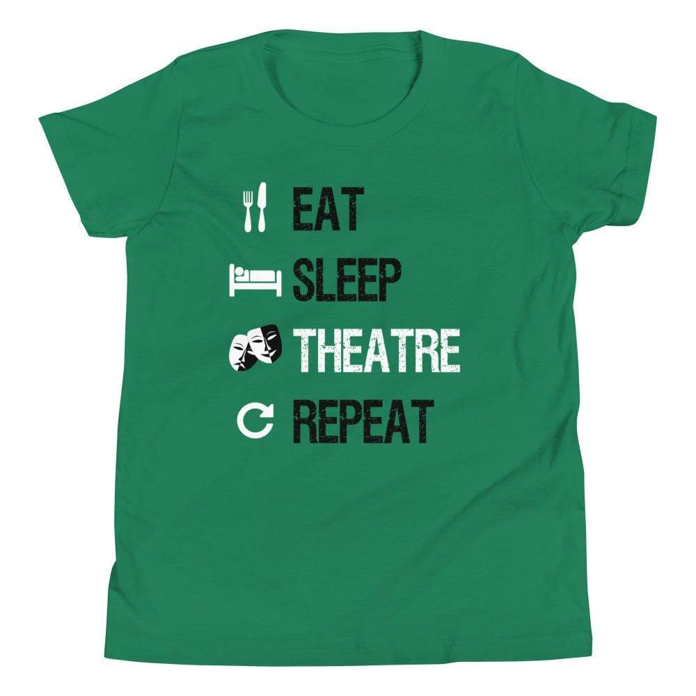 Eat Sleep Theatre Repeat Youth T-Shirt - Happy Drama Shirts