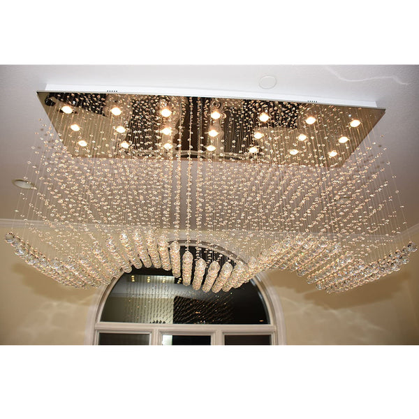 "Maxax 21-Light 70"" Crystal Rectangle Chandelier #17175XL"