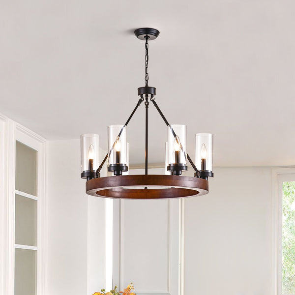 Maxax 6 - Light Candle Style Wagon Wheel Chandelier #19077-6