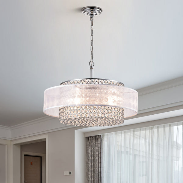 Maxax 3 - Light Unique Drum Chandelier with Crystal Accents #19089-3CH