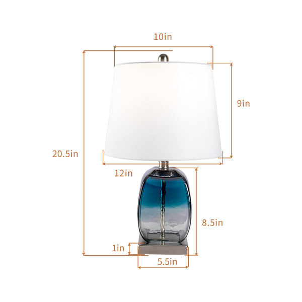 "Maxax 20.5"" Blue Table Lamp Set with USB #T16"