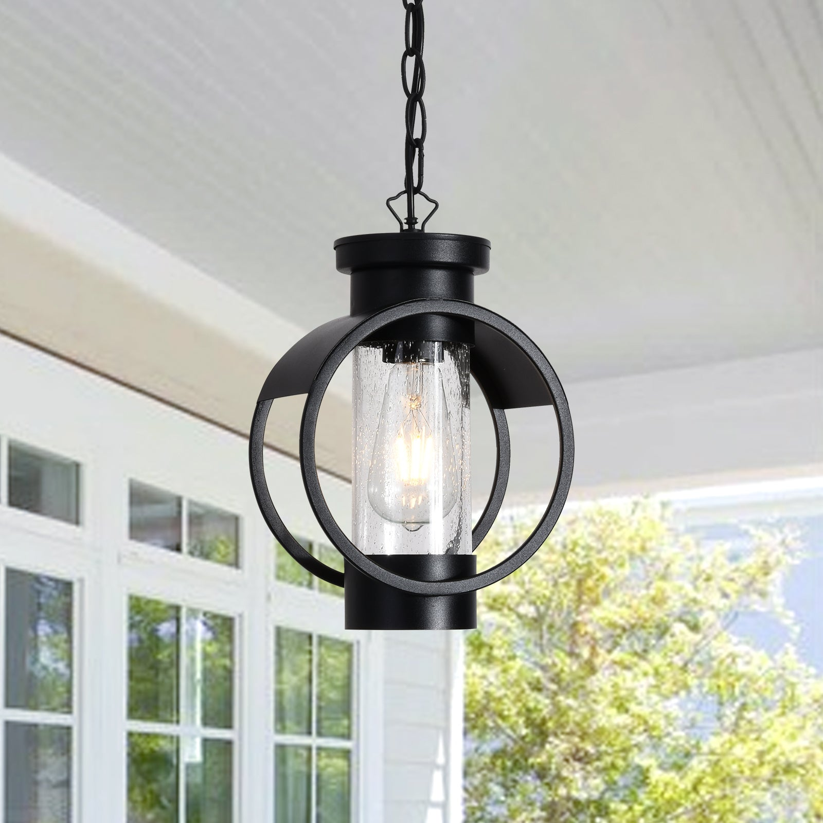 "Maxax Black 1 -Bulb 11.8"" H Hardwired Outdoor Pendant #2062/1P"