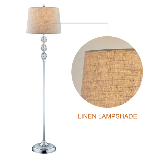 Maxax Crystal Floor Lamp with Linen Lampshade#F03