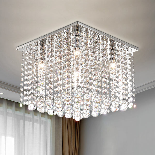 "Maxax 5 - Light 13.7"" Unique/Statement Square Crystal Flush Mount#19028-5"