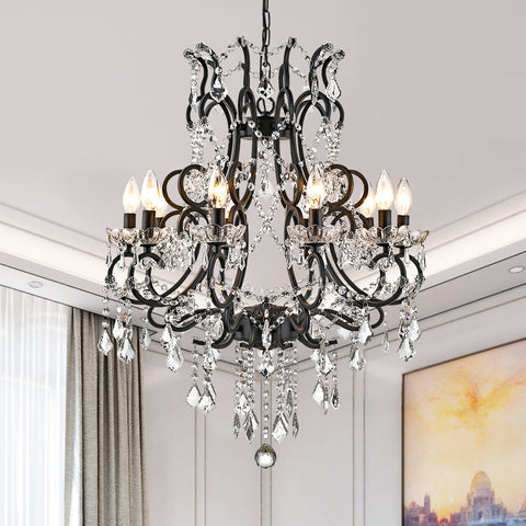 Maxax 10-light Crystal Iron Chandelier #19040-10