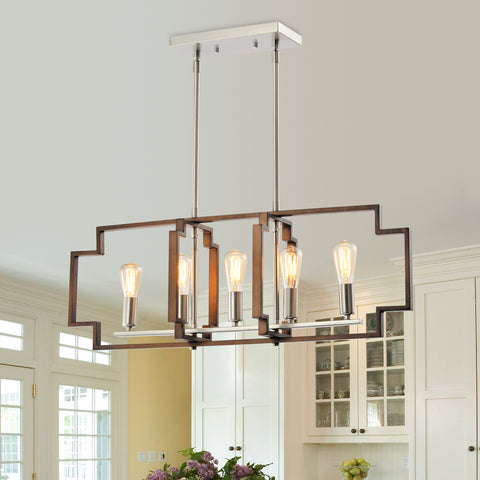 Maxax 5 - Light Kitchen Island Rectangle Chandelier with Wrought Iron Accent #JF1920-P5