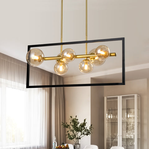 Maxax 7 - Light Kitchen Island Rectangle Chandelier with Hand Blown Glass Accent #JF2028-P7