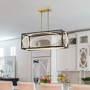 Maxax 5- Light Kitchen Island Rectangle LED Chandelier #JF2033-P30