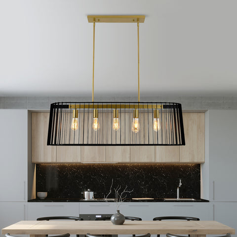 Maxax 5 - Light Kitchen Island Rectangle Chandelier with Wrought Iron Accent #JF2034-P5