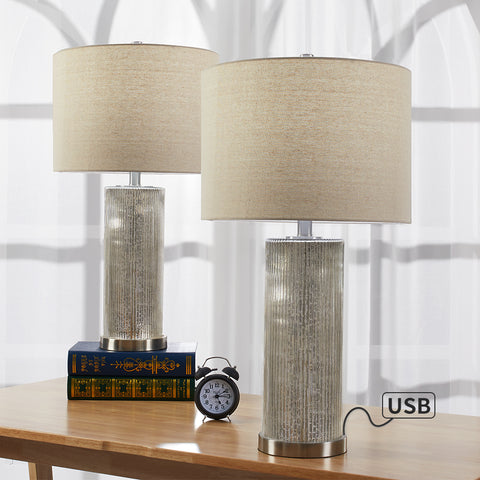 "Maxax 26.25"" Chrome Table Lamp Set with USB (Set of 2) #T06"