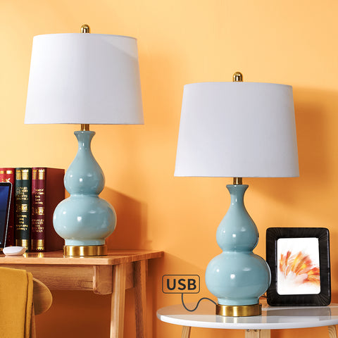 "Maxax 26.75"" Table Lamp Set with USB (Set of 2) #T08"